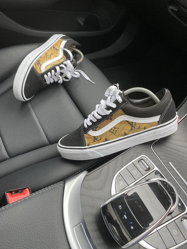 Old Skool Vans • Black | Gold • Monogram