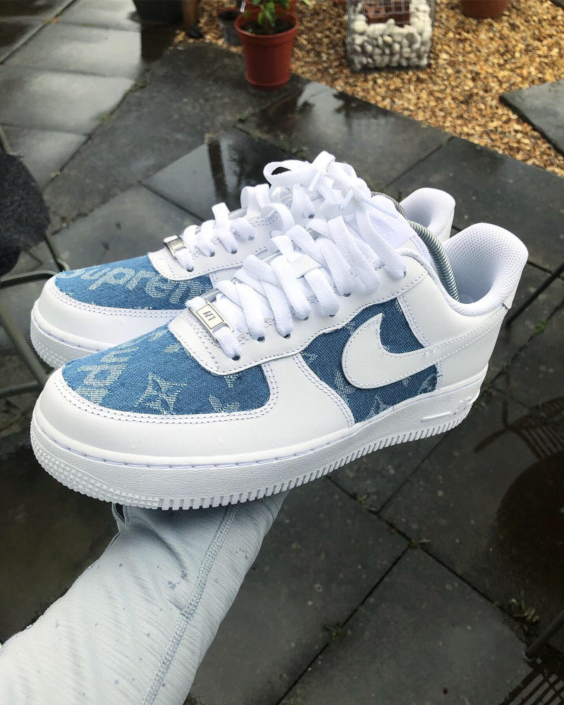 Nike Air Force 1 - White | Denim Blue Supreme • Monogram