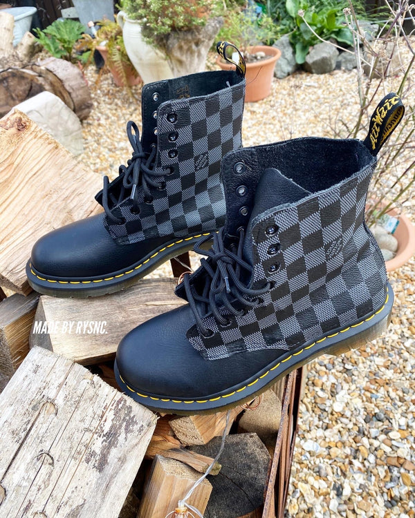 Black Monogram Doc Martens Low Platform