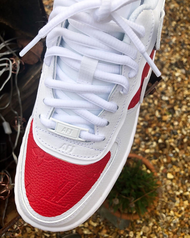 Red Embossed Monogram - White Air Force 1 Shadow