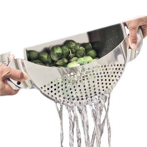 Stainless Steel Pan Drainer - Pasta Strainer | The Cuisine Shop