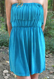 Walking Free Fringe Dress: Turquoise