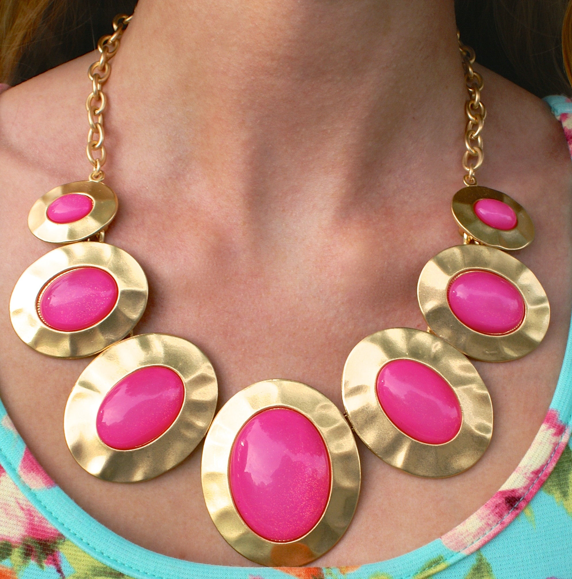 Gold and Pink Statement Necklace