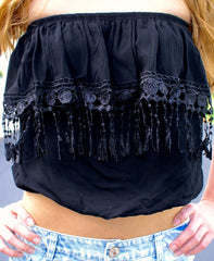 Black Fringe Lace Crop Top