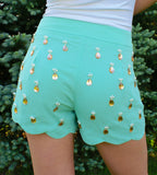 Teardrop Elegance Shorts: Mint