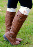 Boot Warmers With Crochet Flower: Ivory
