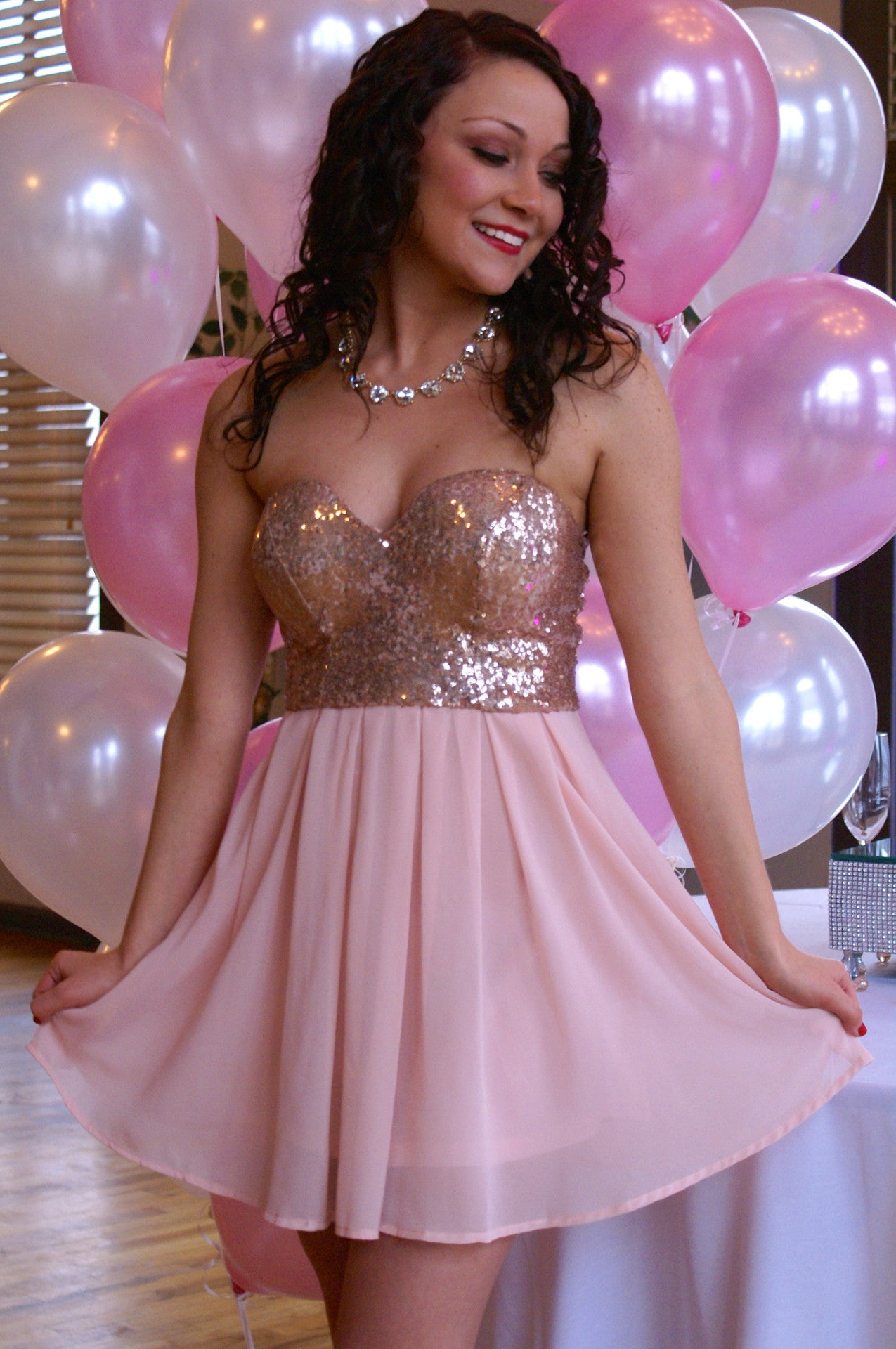 Pink Sequined Party Dress