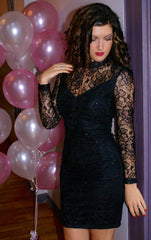 Floral Lace Black Party Dress