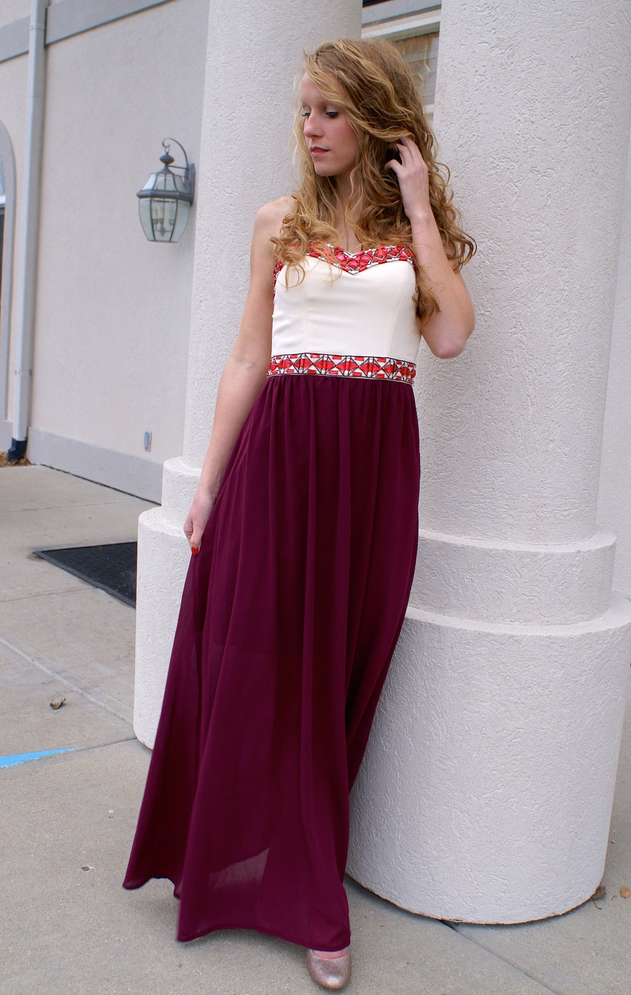 Burgundy sweetheart maxi dress