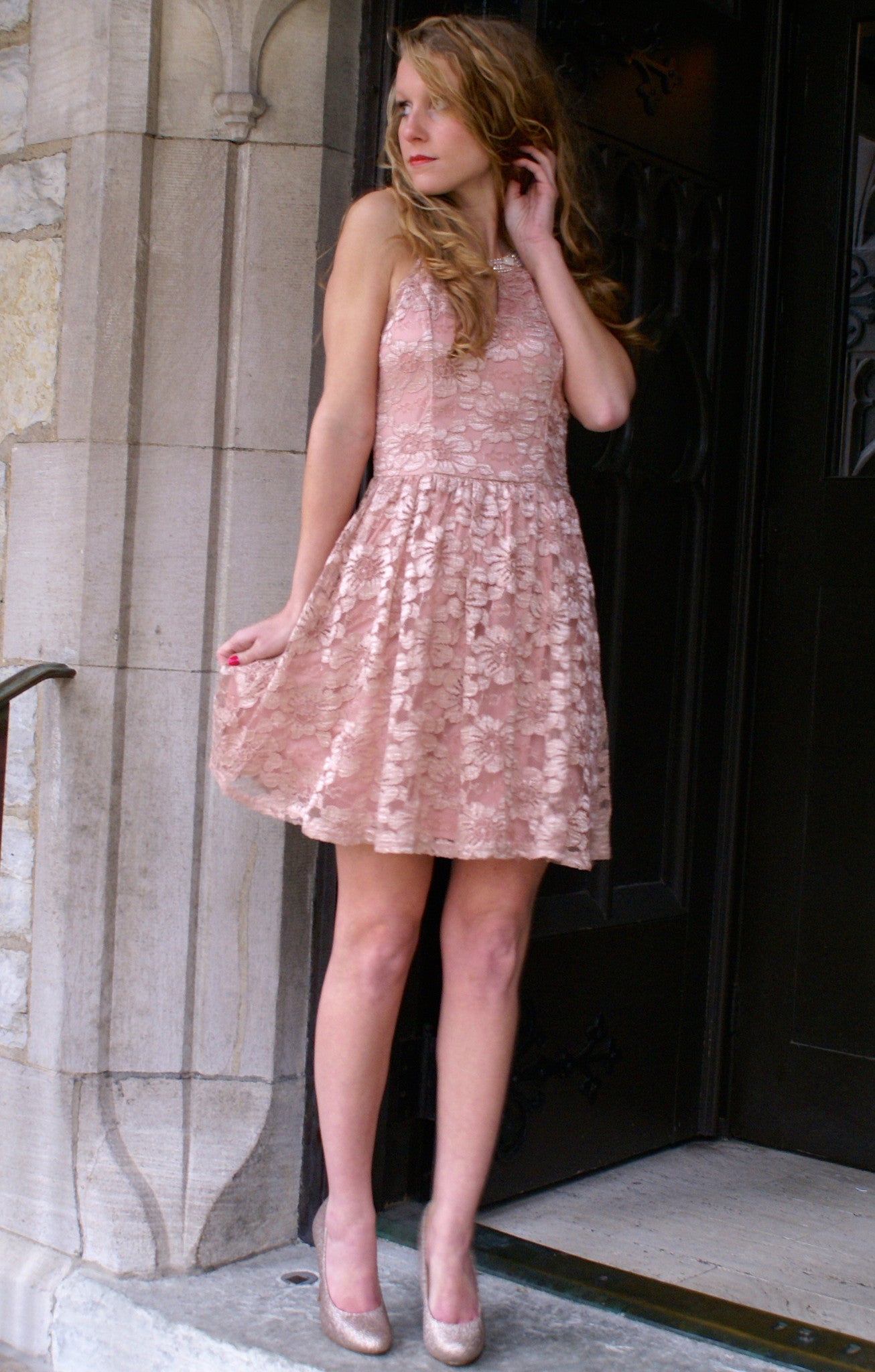 Floral Lace Blush Party Dress