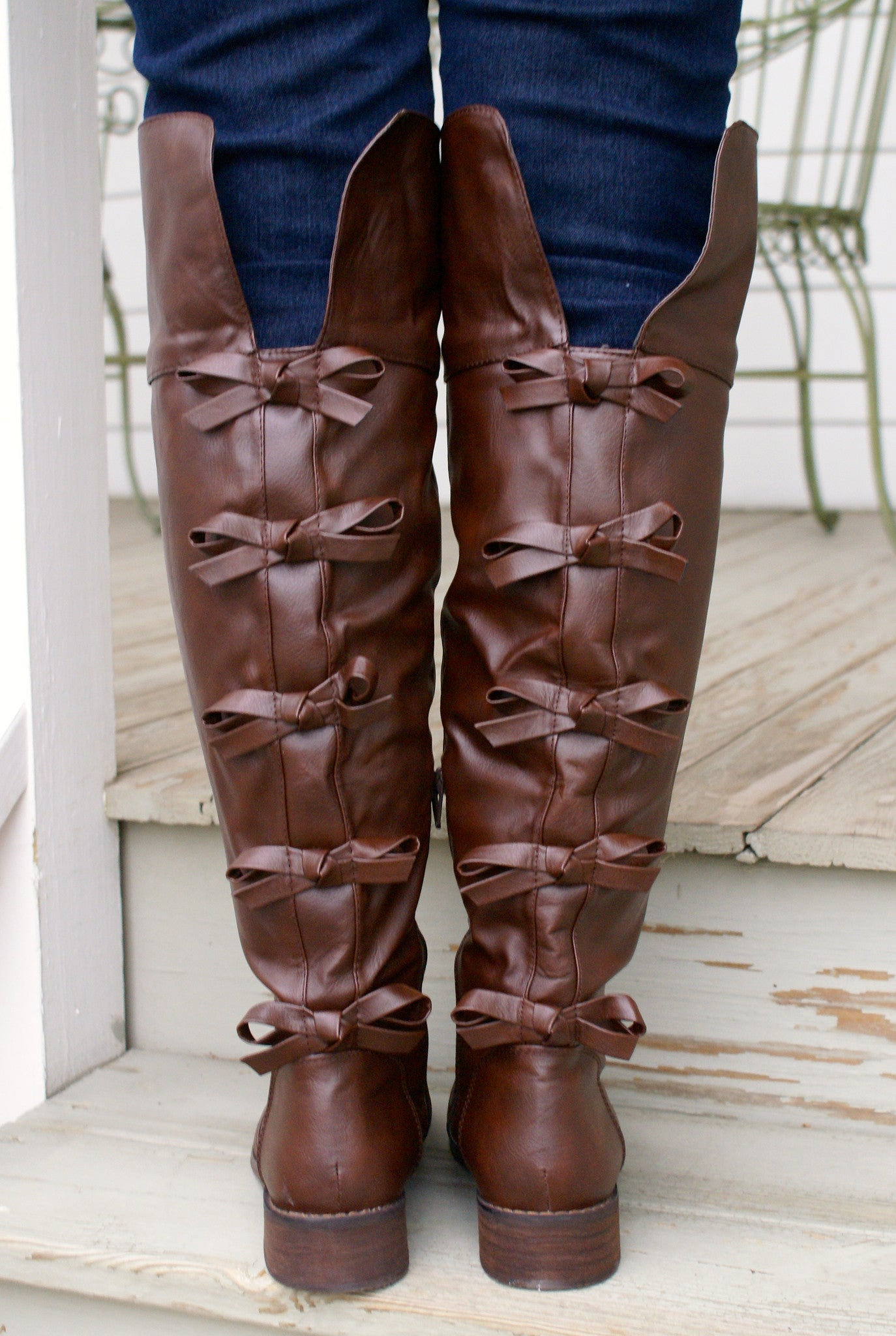 Brown Boots with Bows