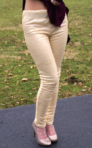 Meant For You Sequin Leggings: Pastel Yellow