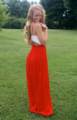 Red & White Maxi Dress