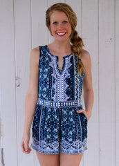 Don't Let Go Romper: Blue/White