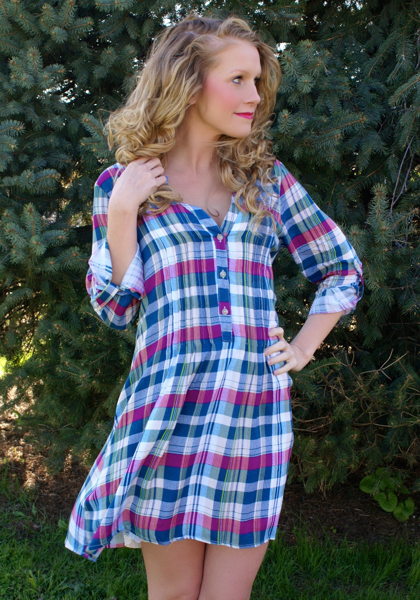 Take Me Away Dress: Plaid Multi