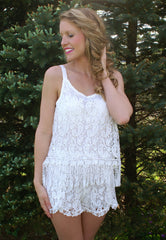Dancing In The Rain Romper: White