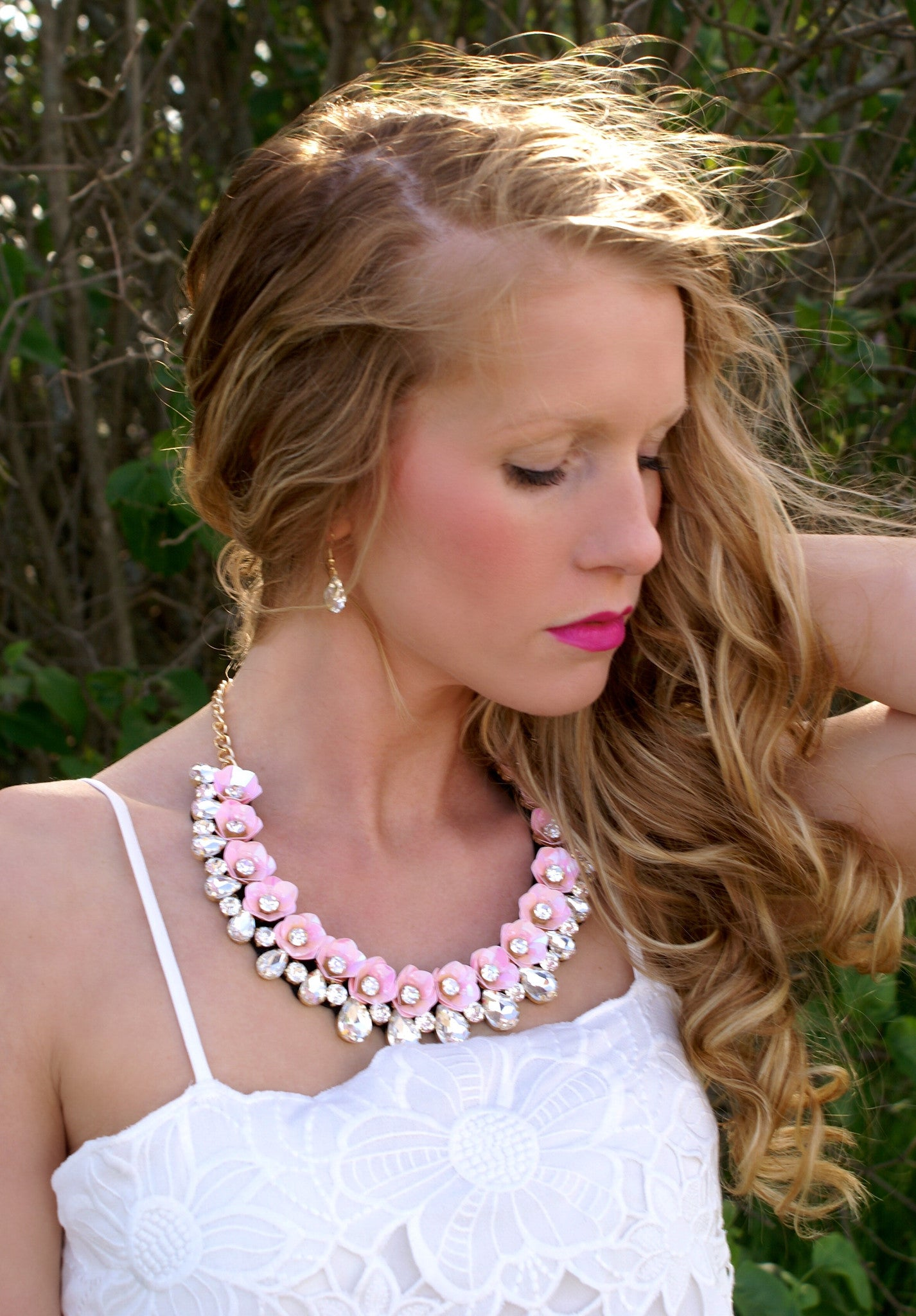 Light Of My Life Necklace & Earring Set: Pink