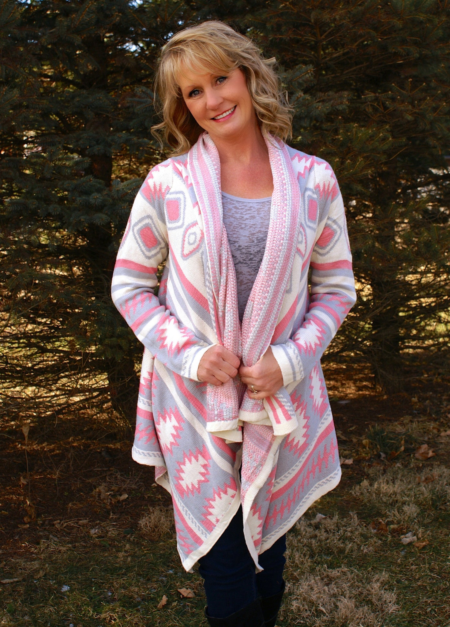 Cherry On Top Cardigan: Pink & Grey