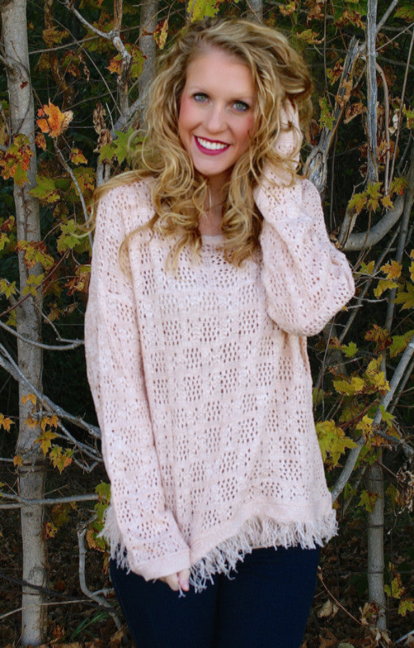 Crisp Fall Air Sweater: Light Pink
