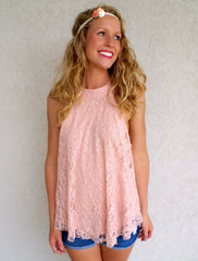 Floral Lace Top: Blush