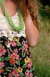 Crocheted top floral print maxi