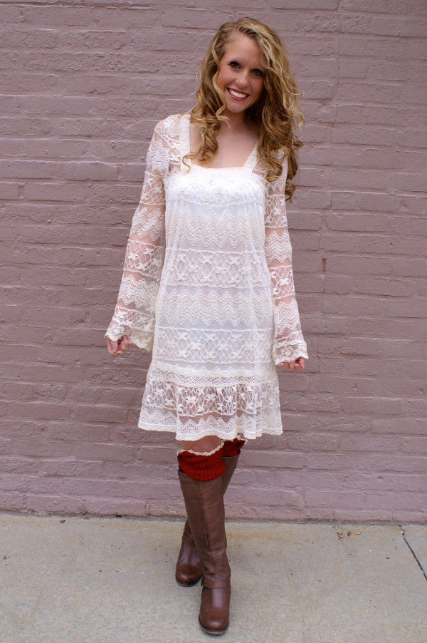 Long sleeved ivory lace dress