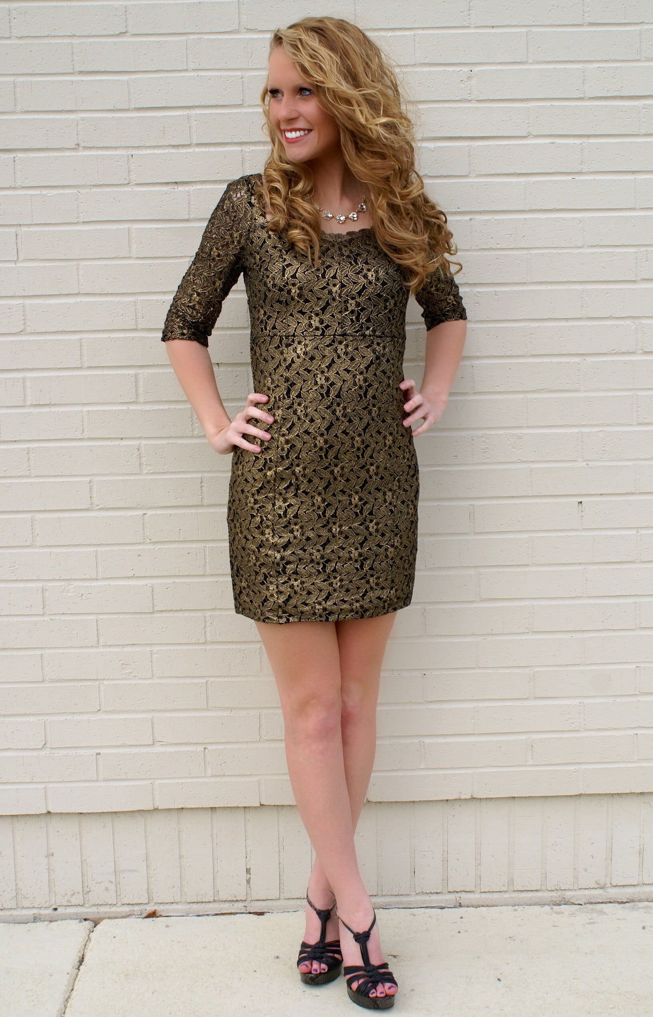 Black & Gold Floral Pattern Dress