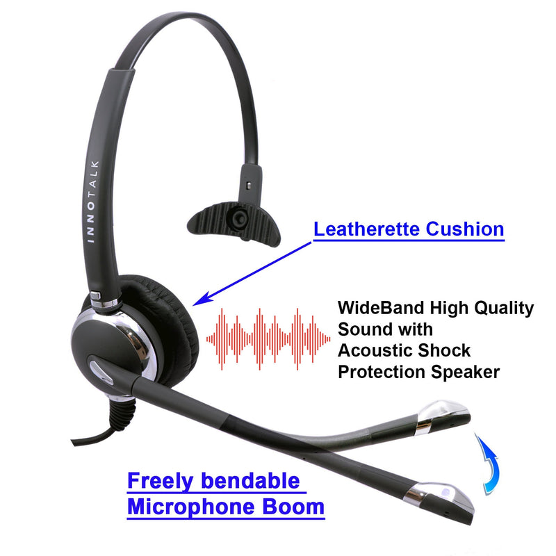 INNOTALK Deluxe 3.5 mm Quick Disconnect Monaural Headset for DeskPhone Computer