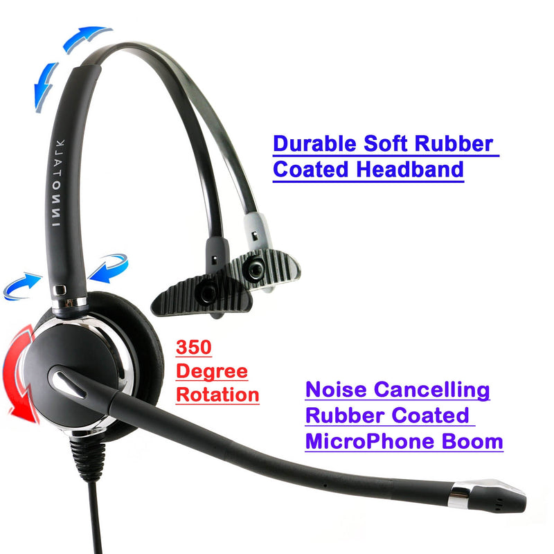 RJ9 Headset Universal - Swiveling Wide band Receiver Best Pro Monaural Headset + Universal Compatibiity RJ9 Headset Adapter