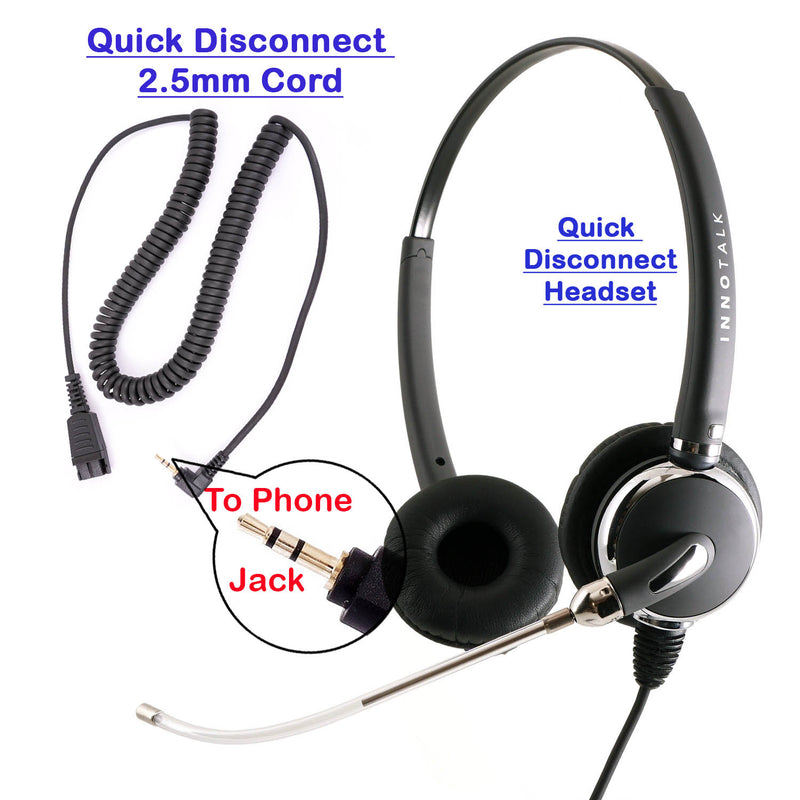 Replaceable Voice Tube Microphone Binaural Headset + 2.5 mm Headset Adapter with Jabra Compatible QD as Office Headset