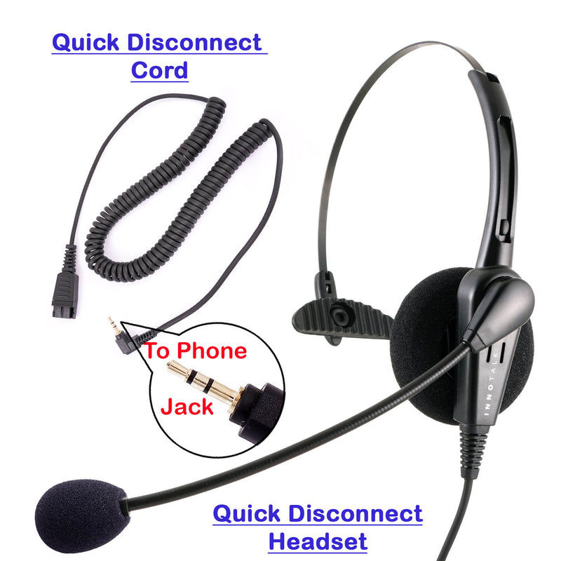 Jabra Compatible QD 2.5 mm Headset Combo - Low Cost Professional Monaural headset + 2.5 mm Headset Jack as Office Headset