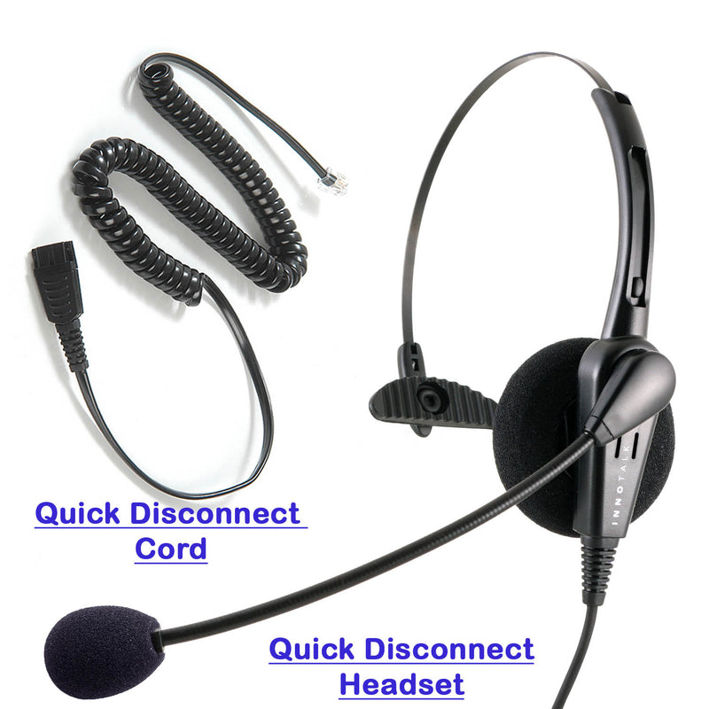 RJ9 headset - Jabra Compatible QD Business Grade Monaural headset + RJ9 modular Headset Adapter for Customer Representative