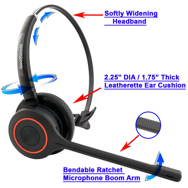 Professional Single Speaker Wireless Bluetooth Headset with mic as Music Headphones, phone headset headphone with noise cancelling microphone includes USB Dongle for computer sound system with Softphones