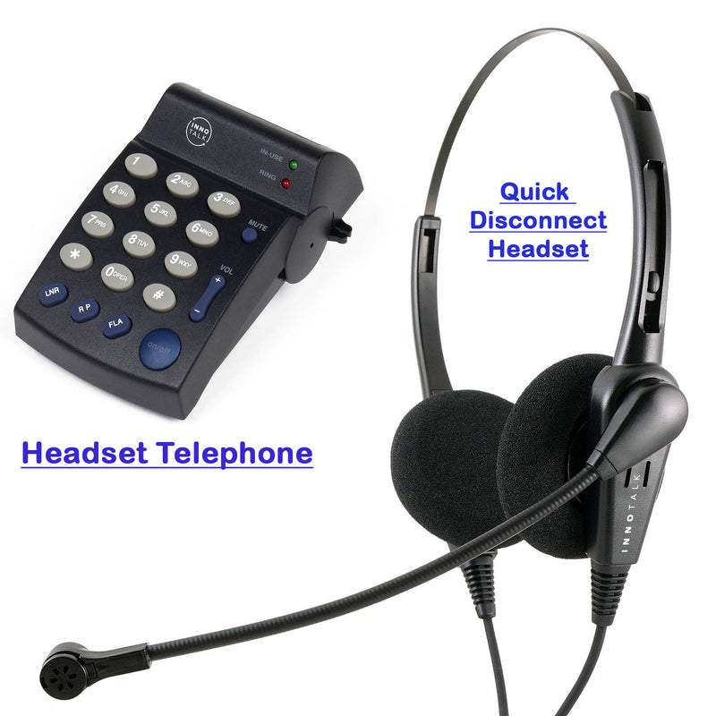 Headset Telephone System - Professional Binaural Headset + Headset Telephone, Jabra Compatible Quick Disconnect