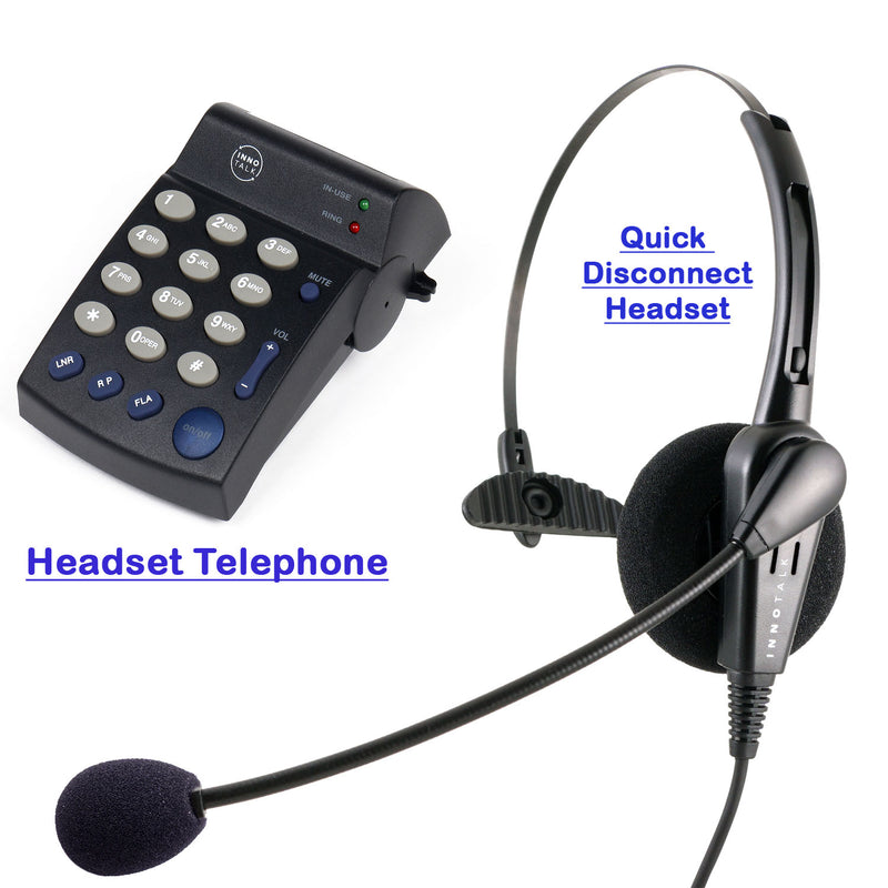 Headset Telephone System Package - Cost Effective Pro Monaural Headset + Headset Telephone designed for Customer Representative