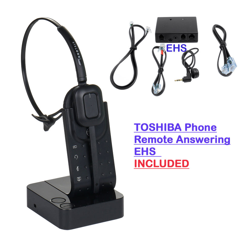 Wireless Headset Toshiba Phone IP5122-SDC, P5131-SDL, IP5132-SD Headset bundle - Remote Hook On Off Wireless headset with a Toshiba EHS cord