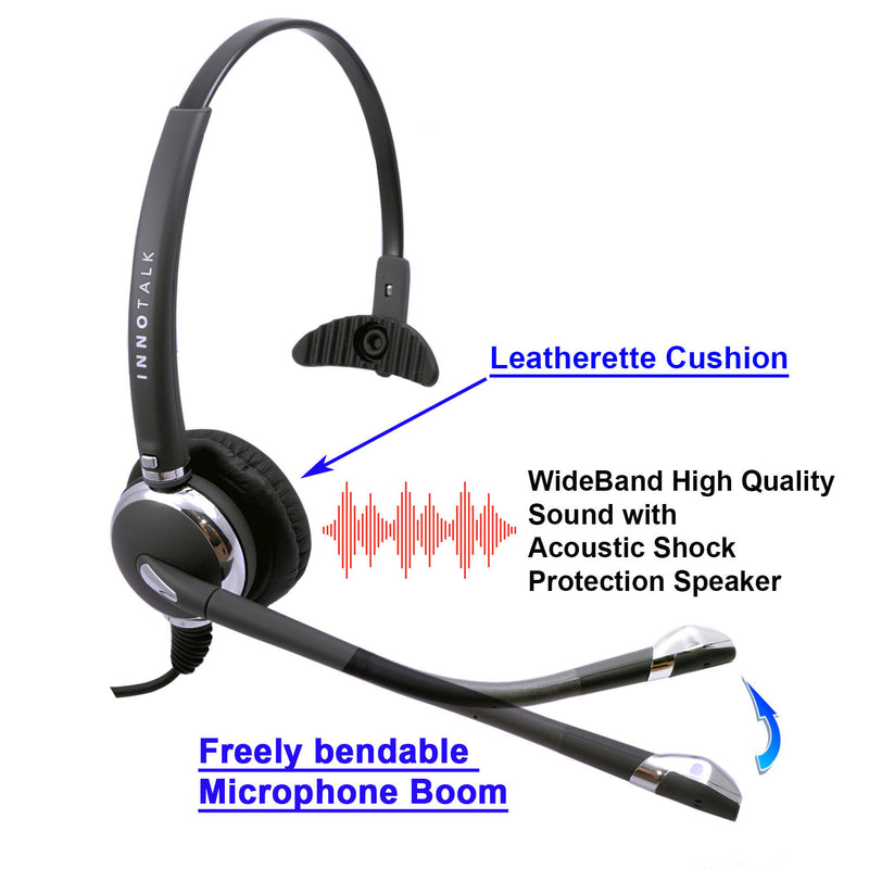 Prong Plug Best Professional Noise Cancel Mic Monaural Headset + RJ9 Headset Adapter in Plantronics Compatible QD