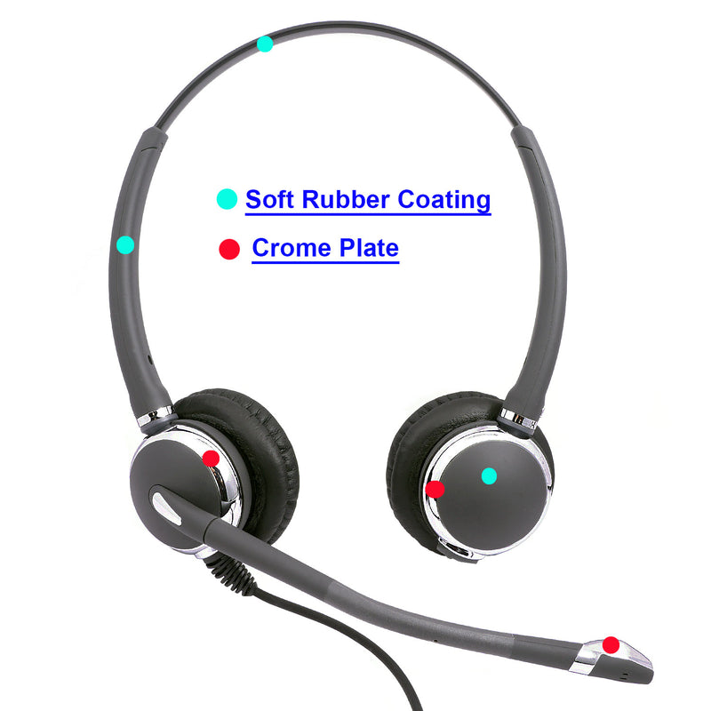 Best Phone headset - Luxury Design Pro Binaural Headset with Noise Cancel Mic and Swiveling Speaker in Jabra Compatible QD