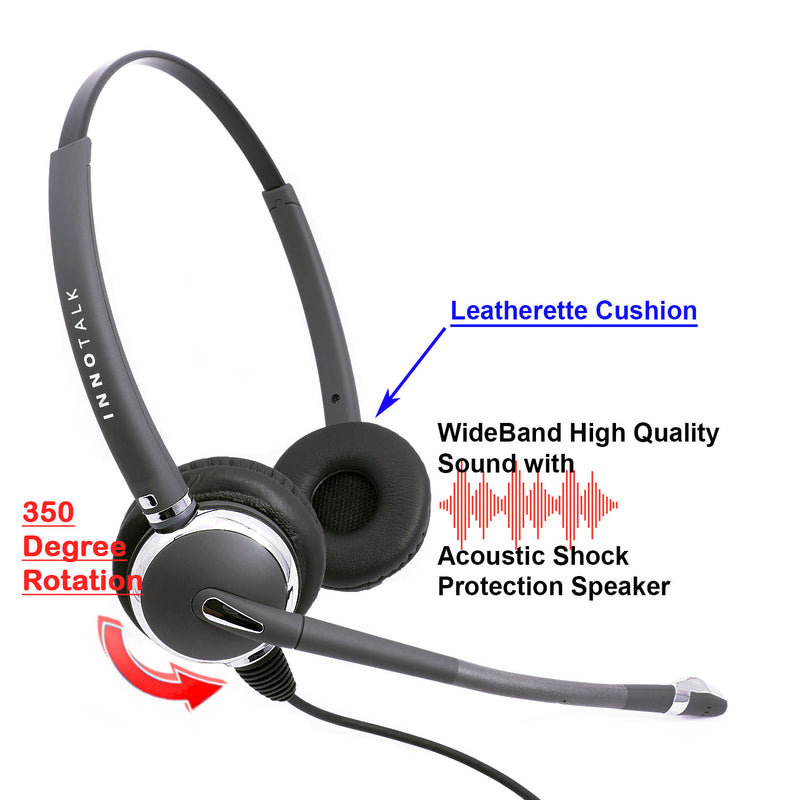 Jabra Compatible QD 2.5 mm Headset Package - Luxury Professional Binaural Headset + Short Length 2.5 mm headset adapter