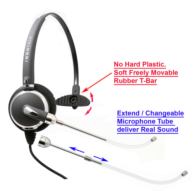 Changeable Voice Tube Professional Monaural Headset with Swiveling Speaker + 2.5 mm Headset Adapter (Short Length) in Jabra compatible QD