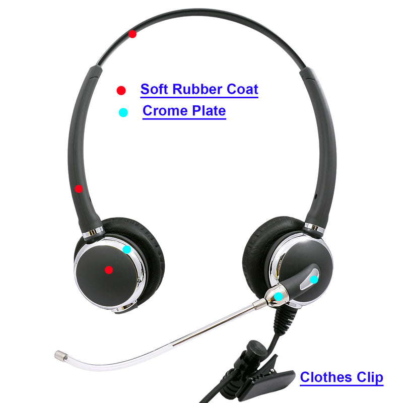 Swiveling Speaker and Replaceable Voice Tube Microphone Headset + 2.5mm Headset Jack in Jabra Compatible QD