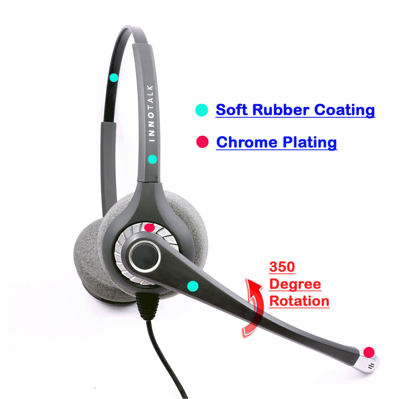 Top Sound Quality Pro Headset - Office Binaural Headset + Jabra Compatible QD built in 2.5 mm headset adapter (Short)