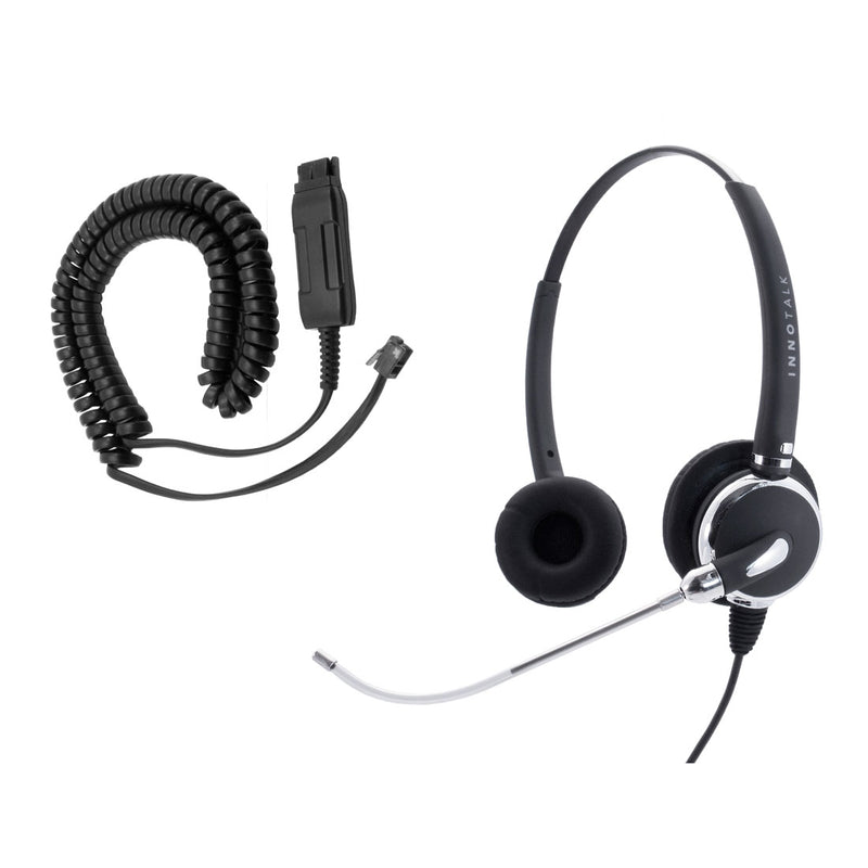Voice Tube Binaural Headset for Avaya 9650, 9670, 1608, 1616, 9601, 9608 - Jabra GN netcom compatible QD Headset