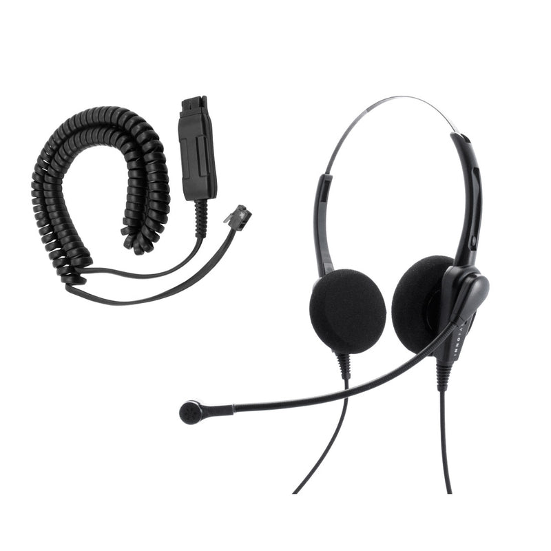 Avaya 9610, 9611, 9620, 9621, 9630, 9640, 9641 Phone Headset - Economic Jabra Gn netcom compatible Binaural headset with Noise Cancelling