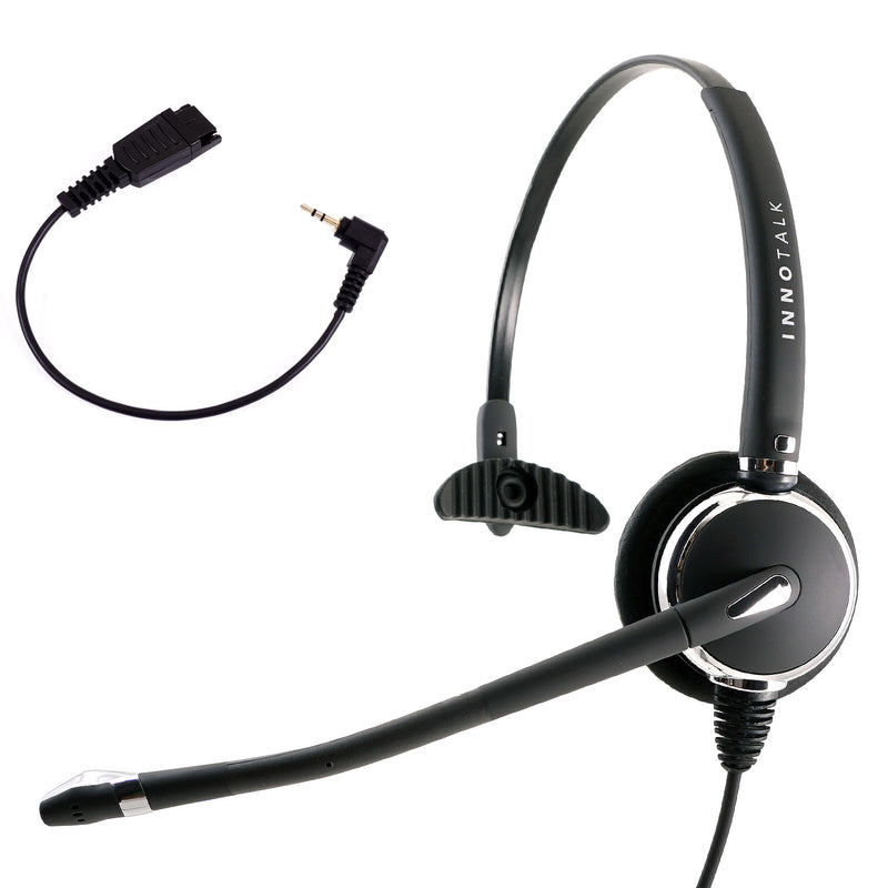 Jabra Compatible QD 2.5 mm Headset Package - Crome Plating Pro Monaural Headset + Short Length 2.5 mm headset adapter