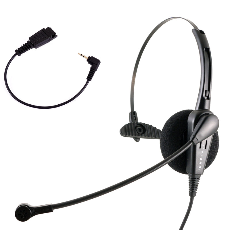 Jabra Compatible QD 2.5mm Headset Combo - Cost Effective Pro Monaural headset + 2.5 mm headset adapter (8 inch)