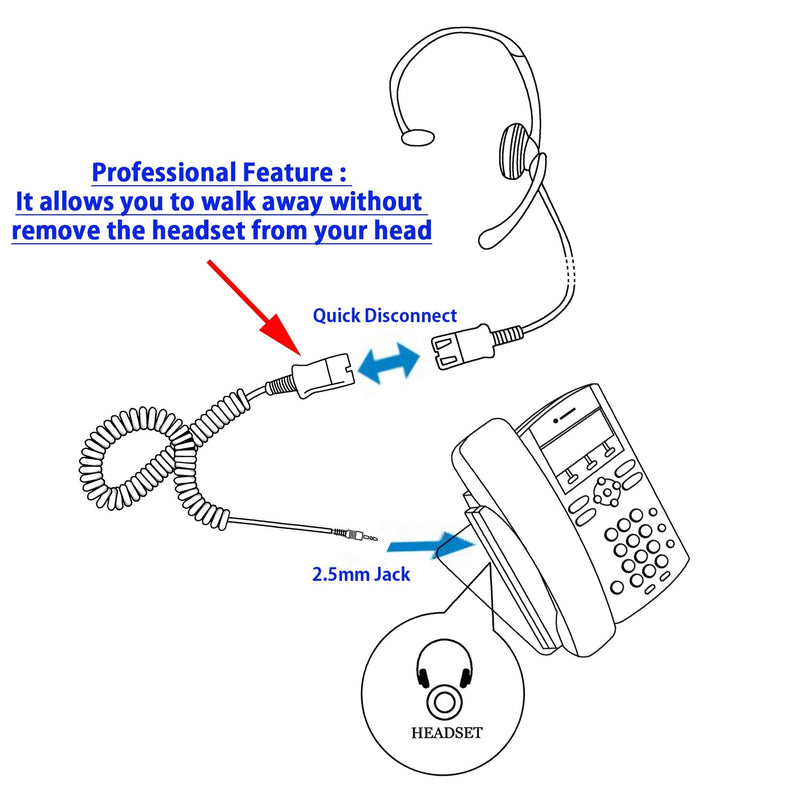 INNOTALK Ear loop Headset with 2.5 mm Headset adapter built in Plantronics Compatible QD