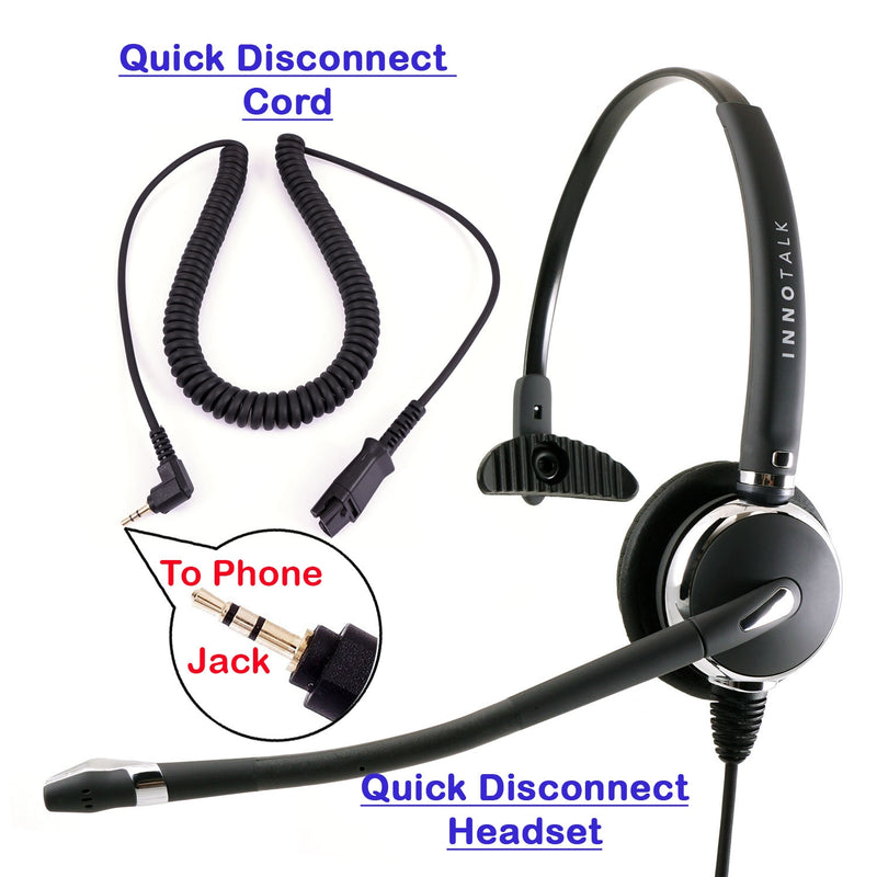Innotalk Luxury Monaural Phone Headset with 2.5 mm Phone headset,  Plantronics compatible QD