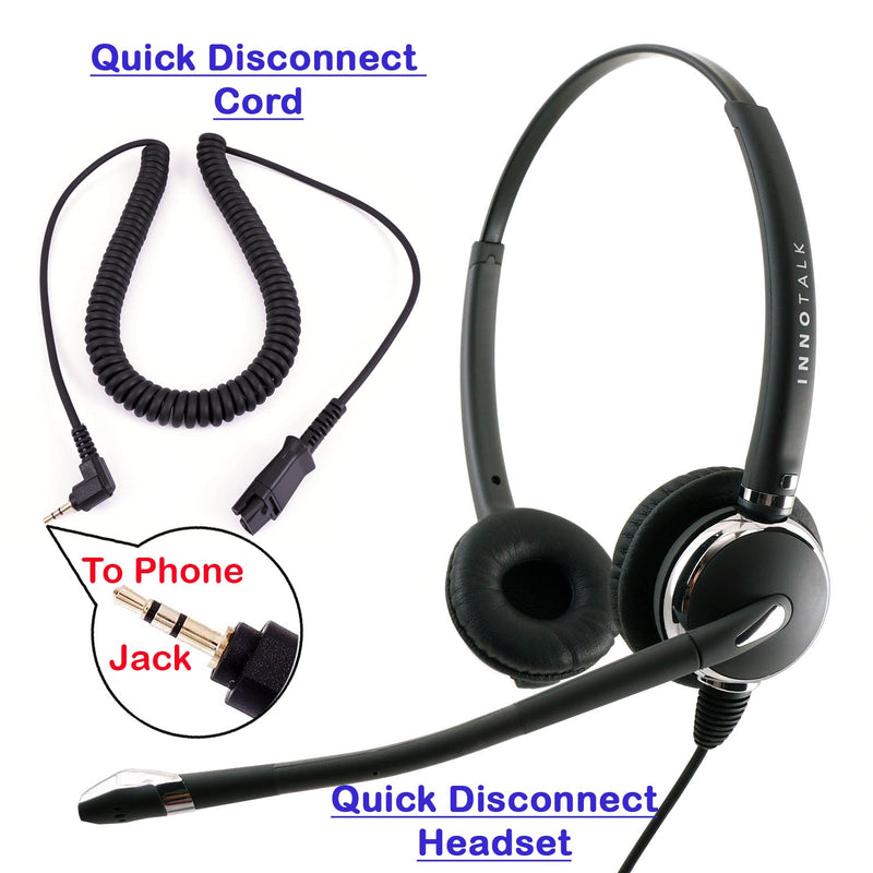 Plantronics Compatible QD 2.5mm Headset Combo, Best Pro Binaural Headset with 2.5 mm headset jack as Office Headset