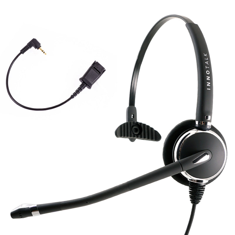 Innotalk Deluxe Monaural Headset + Short 2.5 mm headset adapter in Plantronics Compatible quick disconnect